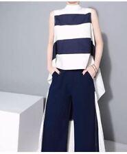 #A1366 Stripes Long Back Top - White & Blue
