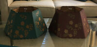 "Vtg Paper Lamp Shade 14"" Maroon & Hunter Green Gold Flowers Stitched Metal Frame"