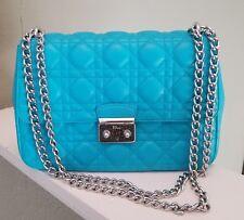 """$4100 CHRISTIAN DIOR Blue """"Miss Dior"""" Large Lady Lambskin Shoulder Hand Bag"""