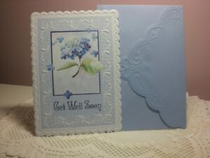 Carol's Rose Garden - Get Well Soon - Blue Flowers on cover
