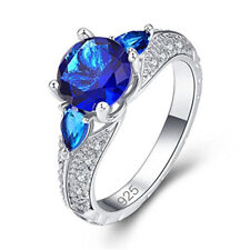 3 Colors Silver Created Sapphire Topaz Filled Cocktail Promise Ring Size 6