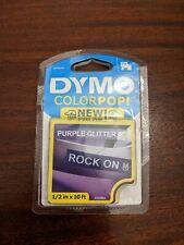 New Dymo Colorpop Authentic Label Maker Tape D1white Print On Purple Glitter