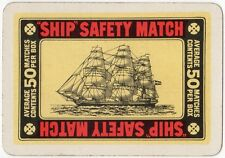 Playing Cards 1 Single Swap Card - Old Wide SHIP SAFETY MATCH Matches Smoking