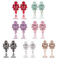 Fashion Elegant Women Rhinestone Crystal Flower Dangle Ear Stud Earrings Jewelry