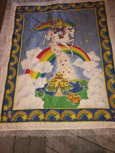 Vintage Rainbow Brite Blanket Throw Handmade Lace Trim Bedding Wall Decor