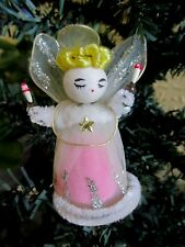 VINTAGE ANGEL SPUN COTTON HEAD&CANDLES&TULLE&WIRE WINGS&DRESS  XMAS DECORATION