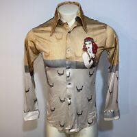 Vtg 60s 70s 45 WEST Disco Shirt Stretch Nylon Saturday Night Fever MENS MEDIUM