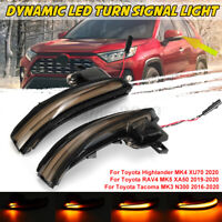 Smoked Sequential LED Side Mirror Turn Signal Lights Set For Toyota Tacoma 16-20