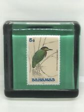 Green Heron Bahamas 5 Cent Stamp In Glass Paperweight Vintage Travel Souvenir