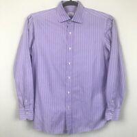 ISAIA Napoli Neiman Marcus Men's size 16/41 Lavender Long Sleeve Striped Shirt