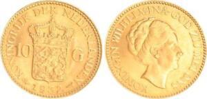Niederlande 10 Gulden Gold 1932, Wilhelmina, prägefrisch  (43636)