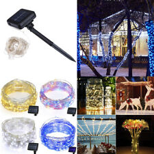 100/200 LEDs Solar Powered Copper Wire String Fairy Light Outdoor Xmas Party Dec