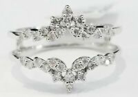 1.25ct  Diamond Solitaire Enhancer Wedding Ring Guard Wrap 10k White Gold Over