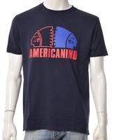 T-shirt Uomo AMERICANINO AMER001 Cotone Stampa Gommata Maglia Blu Rossa NUOVA