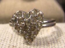 Signed Sarah Coventry Silver Heart Clear Stone Adjustable Ring