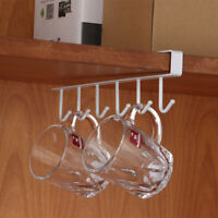 Durable Metal 6 Hooks Under Shelf Mug Organizer Key Multifunctional Storage Hook