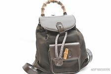 Authentic GUCCI Bamboo Backpack Canvas Enamel Brown 36969