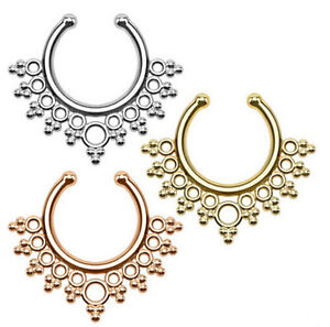Women Fake Septum Ring Clicker Non Piercing Body jewelry Nose Rings Silver Gold