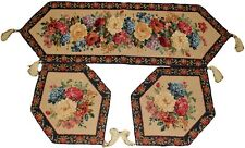 Tache Country Vintage Morning Awakening Floral Woven Tapestry Table Runners 3PC