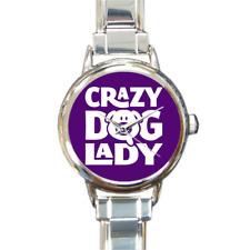 Crazy Dog Lady Watch Round Italian Charm Watch Bracelet Dog Lover Watch Purple