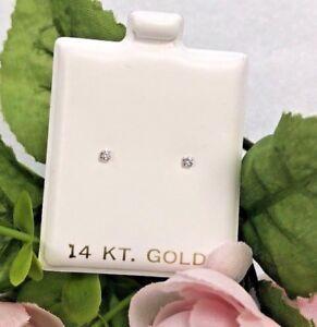 Babies/Infants/Women 14k Yellow Gold CZ Earrings 2mm Stud/Aretes de bebe y mujer
