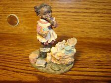 "Vintage Black African American Resin Figurine "" Young Black Girl Eating-Baking"
