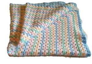 Handmade brand new Baby gender neutral Crochet Throw Blanket cot crib knee throw