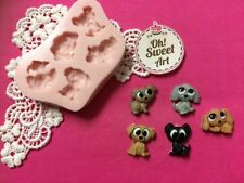 Cute puppies dogs silicone mold fondant cake decorating cupcakes food soap FDA