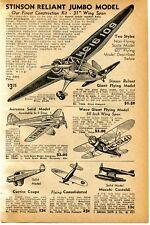 1940 small Print Ad of Stinson Reliant, Aeronca, Waco, Curtis Model Airplane