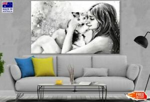 Girl & Cat B&W Drawing Canvas Collection Home Decor Wall Print Art