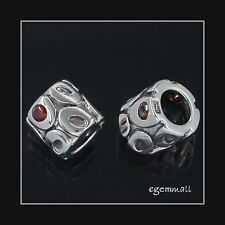 Sterling Silver Tube Bead 8mm With Garnet CZ Fit European Bracelet #51701