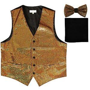 New Men's Sequin GOLD Tuxedo VEST Waistcoat & BOW TIE and SOLID BLACK HANKIE set