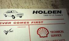 1969 1970 1971 1972  HOLDEN TORANA LC 4 -  SHELL Australia Lube Chart