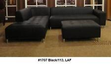 2PC Modern Elegant design black leather sectional chaise + sofa set #1707