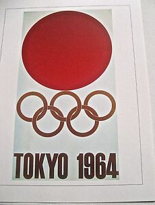 1964 Tokyo Olympic Games Poster 16x12 Offset Lithograph Unsigned