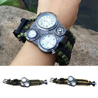 8in1 Paracord Survival Bracelet Compass Flint Fire Starter Whistle Gear Tool Kit