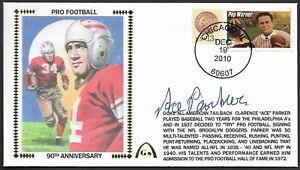 Ace Parker Signed 90 Years of Football Gateway Stamp Cachet Envelope Postmark