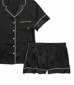 Victorias secret satin sleep lounge shorts black pink piping solid L large  NEW