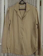 "ROSSANA DIVA Vintage Textured Check Blouse 40"" Bust Camel Beige Ivory Shirt"