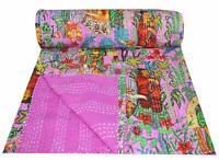 Frida Kahlo Printed Kantha Bedspread Boho Bed Cover Quilts Pink Reversible Quilt