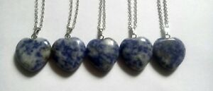 """Sodalite heart 18"""" silver plated necklaces x1"""