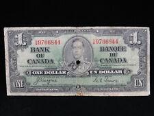 1937 $1 Dollar Bank Note Canada S/M 9766844 Coyne Towers G Grade Bill