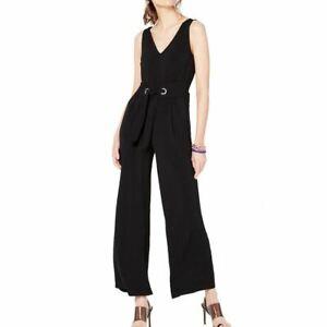 INC NEW Women's Black Solid Grommet Tie-waist V-neck Jumpsuit S TEDO