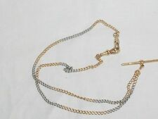 18ct & PT White & Yellow Gold Albert Watch Chain Style Vintage Necklace Stamped