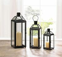 Midtown Pillar Candle Lantern Black Metal Frame Clear Glass 12-21""