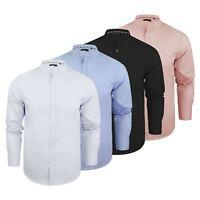 Mens Shirt Brave Soul Magnus Plain Grandad Collar Long Sleeve Casual Top