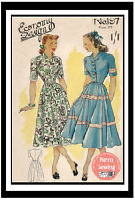 1940's Roll Collar Dress Vintage Sewing Pattern Available in Bust 32 or 36