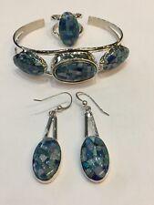 Jay King Sterling Silver Reversible Turquoise Opal Cuff Bracelet Earrings  Ring