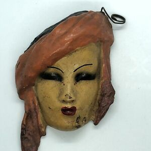 Vintage Antique Miniature Mask European Face Wall Hanging Art Decoration 3 3/4""
