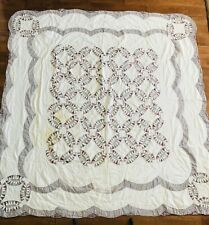 Quilt Patchwork Double Wedding Ring Vintage Fabric Squares on White 80 x 77""